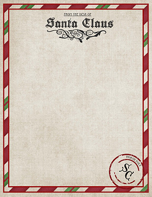 North%2BPole%2BStationary Letter from Santa Printable